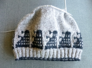 Dalek hat with charts by Lorraine Condotta